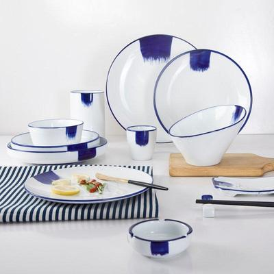 Classic Navy Blue Rim & White Color Bone china Din