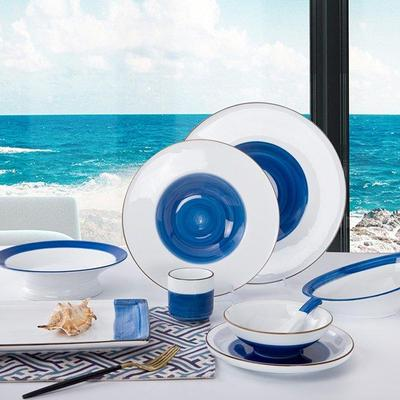 Navy Blue & White Color Italian Style Bone china D