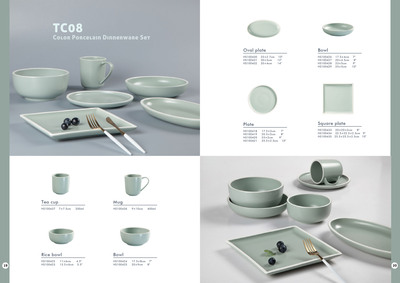 Contemporary Style Jade Green Color Porcelain Dinn