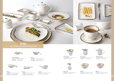 Round Casual Style Color Porcelain Dinner Set With